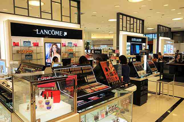 The new revamped cosmetics section by the front entrance is gleaming with new makeup counters