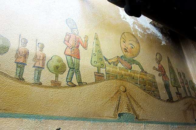 "Holland Partner Group has saved this original ""Humpty Dumpty"" scene painted on the wall of the former nursery in the basement that once served the children of the Good Samaritan medical employees"