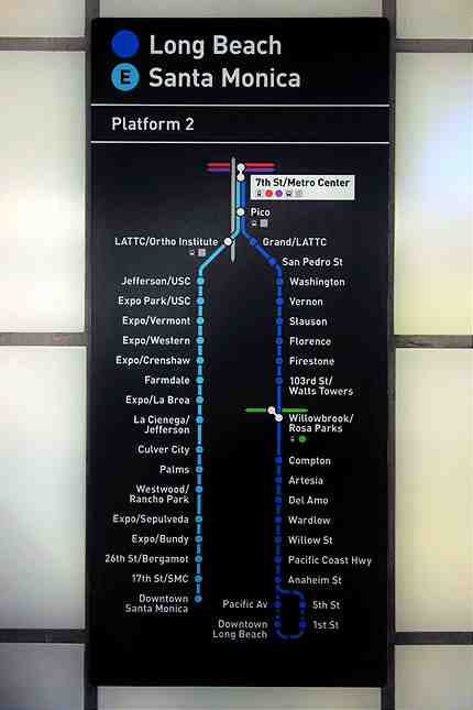 New updated Metro signs with Santa Monica posted throughout the 7th/Metro subway station