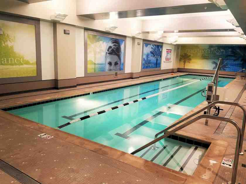 The new bigger LA Fitness now includes a lap swimming pool on the basement level