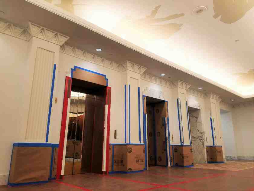 The lobby is being remodeled as part of Jamestown's upgrade to the Brunswig
