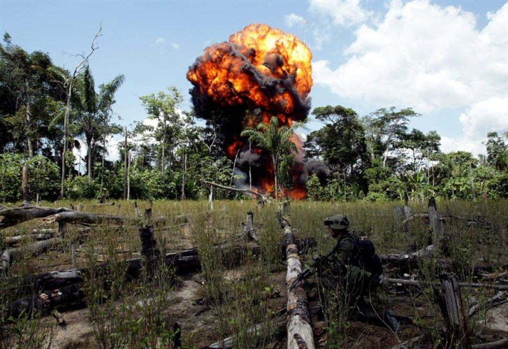 A jungle cocaine lab is blown up by Colombian forces