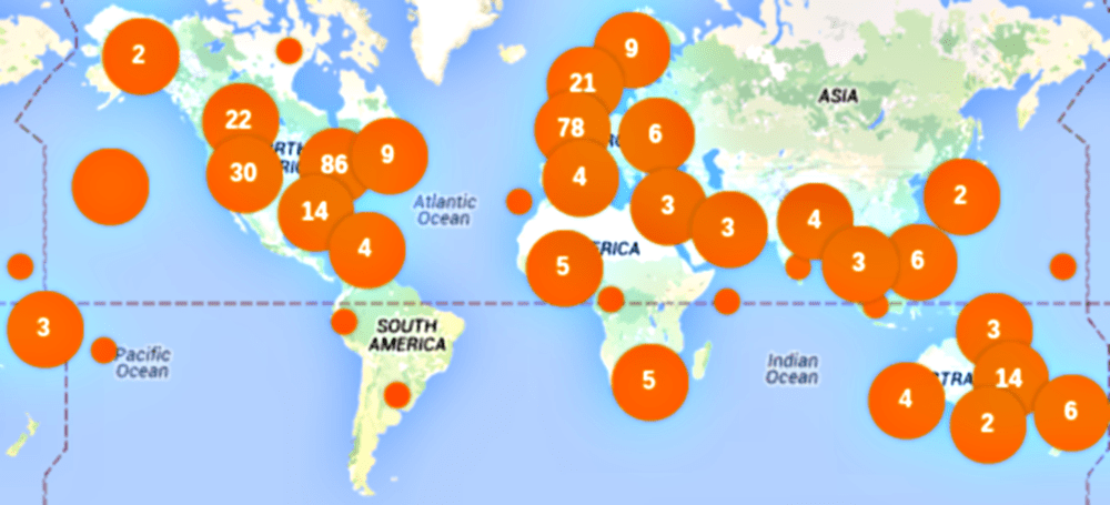 Map of planned actions for Global Divestment Day, 13-14 February 2015.