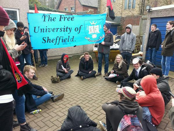 "banner reads ""the free university of sheffield"""