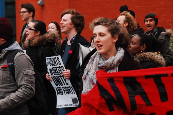 Hattie Craig at the 28 March 2015 demo for free education in Birmingham.