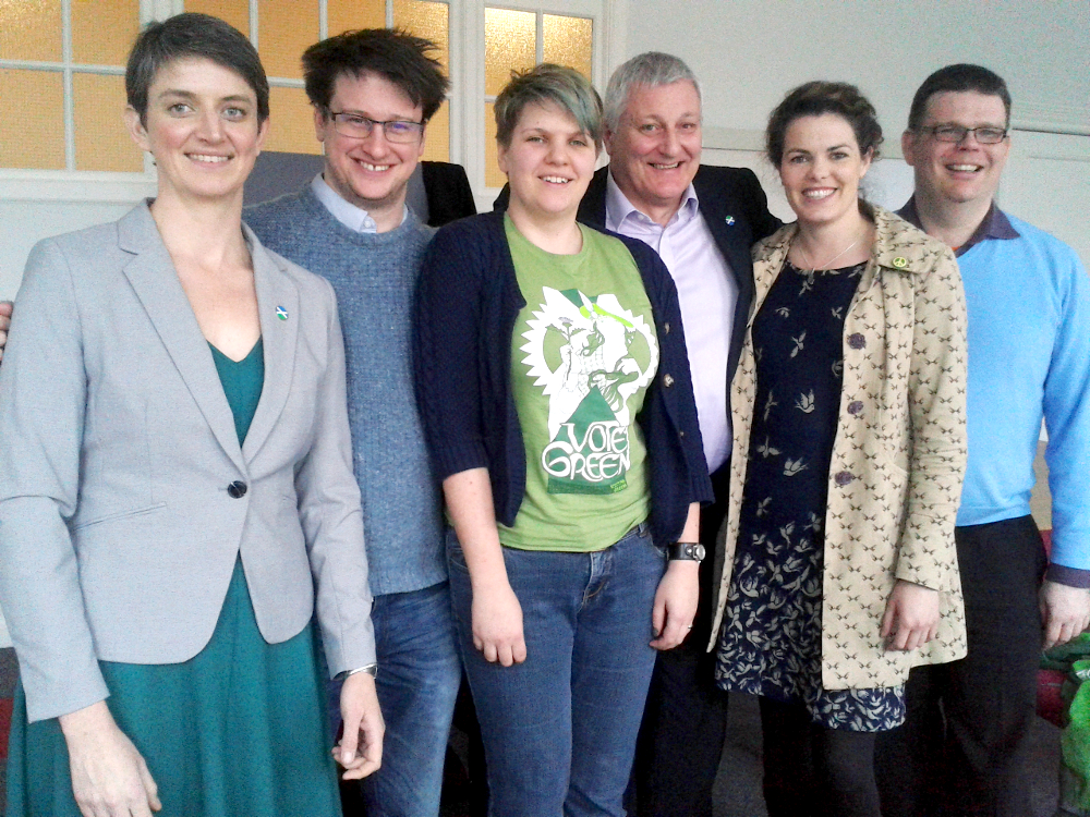 Left to right: Maggie Chapman, Adam Ramsay, Alys Mumford, John Finnie, Isla O'Reilly and Peter McColl