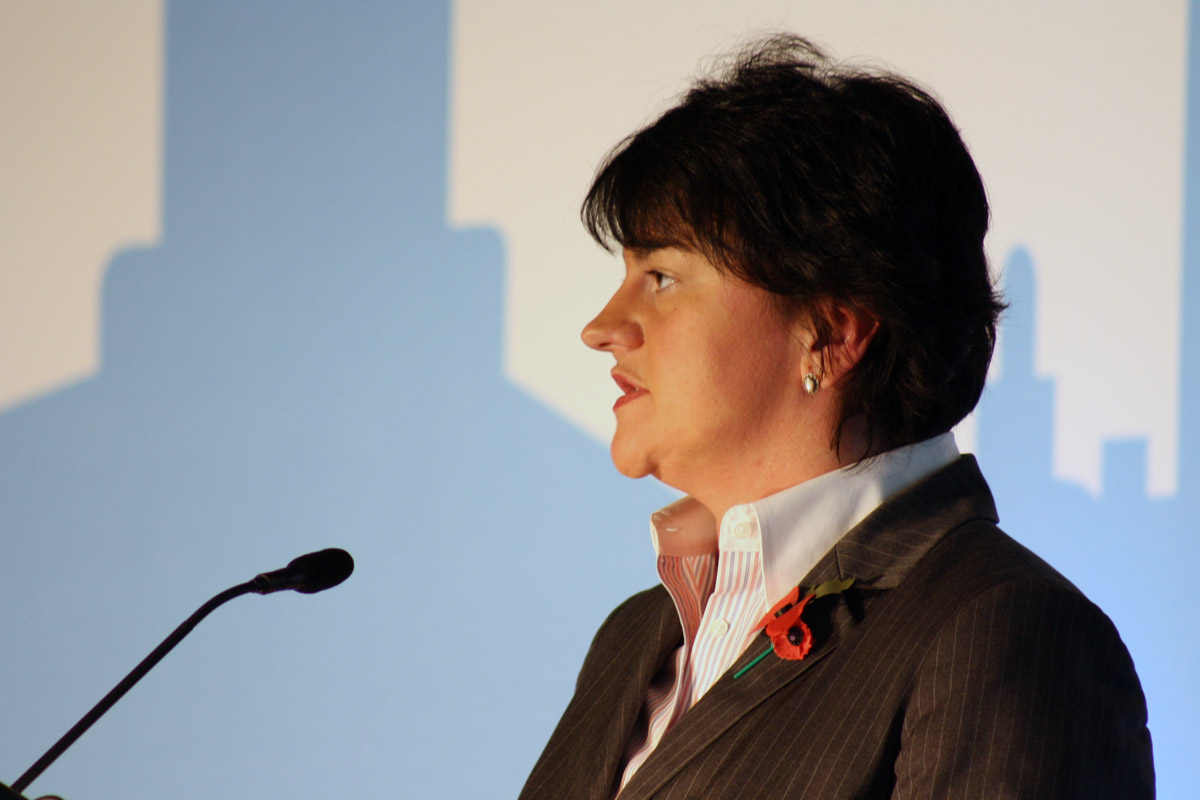 Arlene Foster, leader of the DUP. Photo credit: flickr user NICVA, http://tinyurl.com/y7ufhucg Creative Commons license: https://creativecommons.org/licenses/by-nc-nd/2.0/