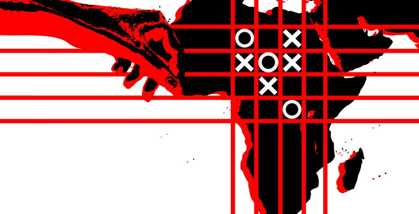 Noughts and crosses on a map of Africa