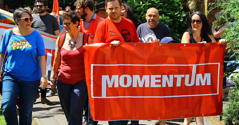 Momentum banner at a March