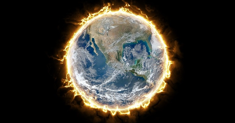 Earth on fire from climate change