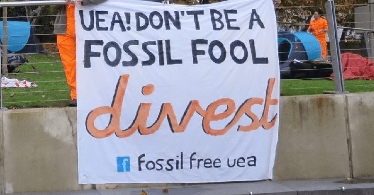 Fossil fuel divestment protest at UEA