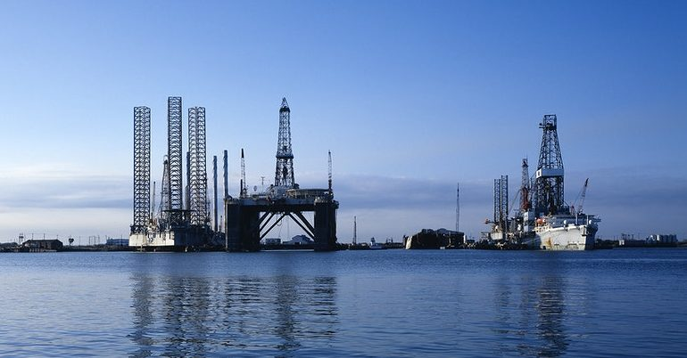 Oil rigs on water