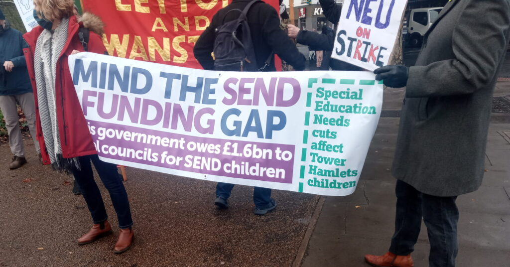 Strike banner with the phrase close the SEND funding gap