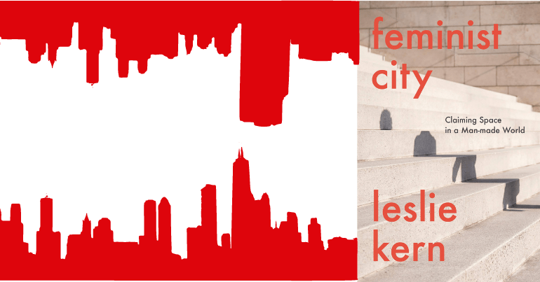 Silhouttes of buildings next to the front cover of feminist city by leslie kern.