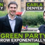 """A photo of Adrian Ramsay and Carla Denyer with text overlayed reading """"The Green Party can grow exponentially"""""""