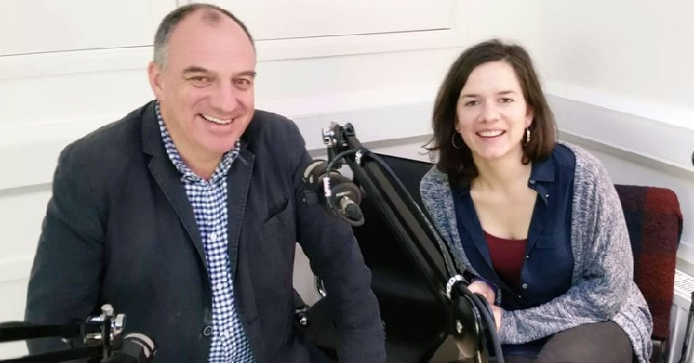 Julia Lagoutte interviewing Cllr Andrew Cooper for the Big Green Politics Podcast in 2019