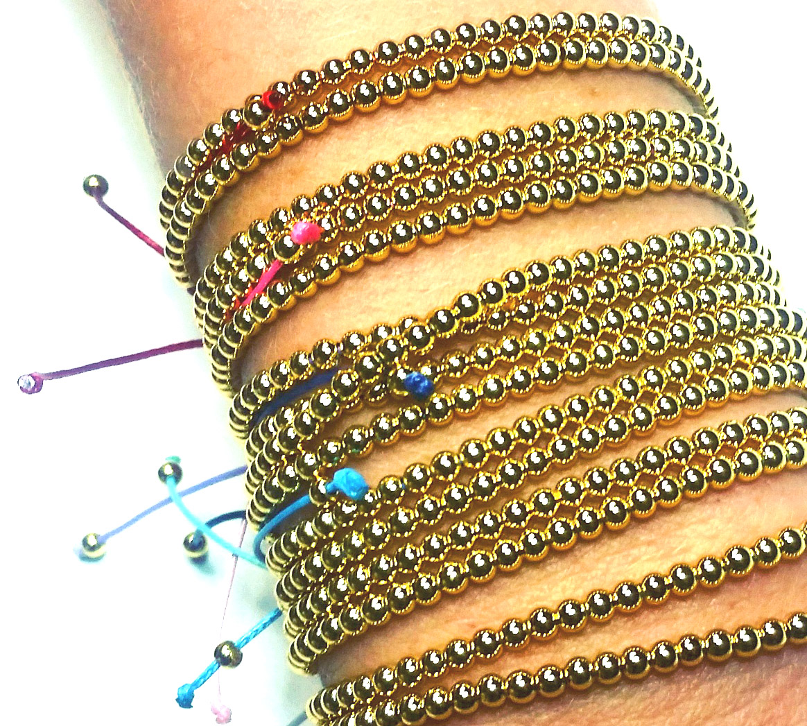Wax Cord Bracelets with Gold Beads