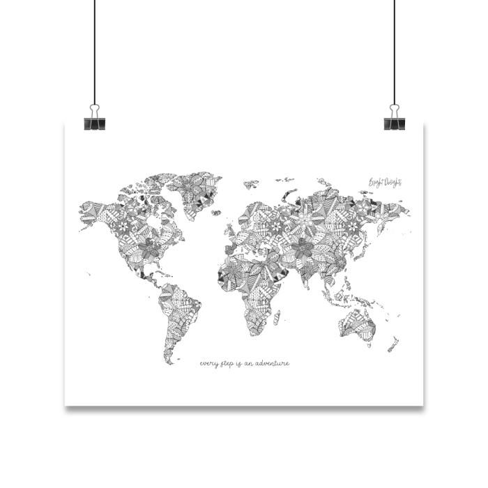 World Map Mandala Illustration