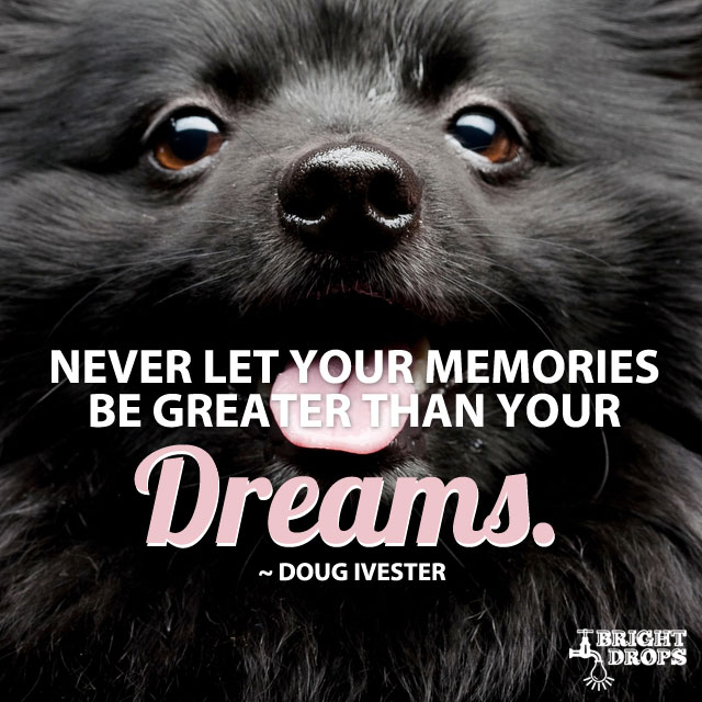 """Never let your memories be greater than your dreams."" ~Doug Ivester"