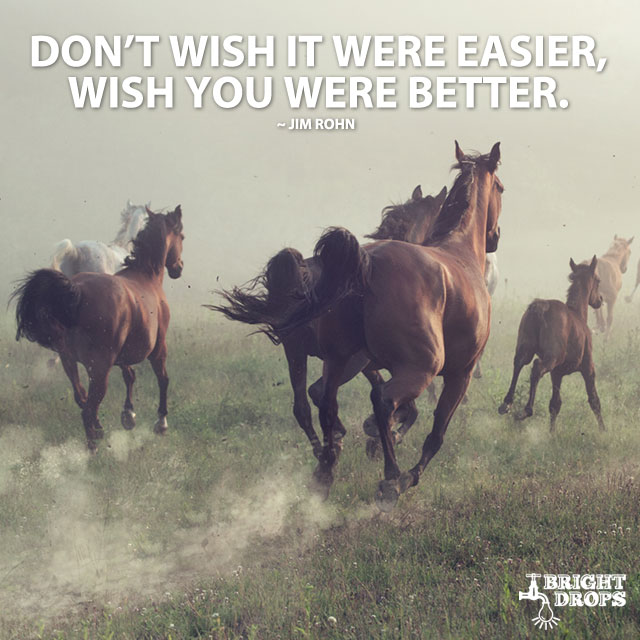 """Don't wish it were easier, wish you were better."" ~Jim Rohn"