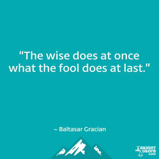 """The wise does at once what the fool does at last."" ~ Baltasar Gracian"