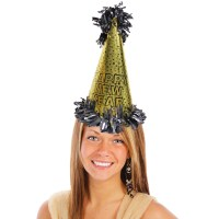 Happy New Year Metallic Gold Cone Hat - New Year's Eve ...