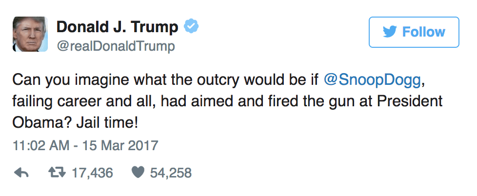 President Donald Trump tweets Snoop Dogg about former-President Obama