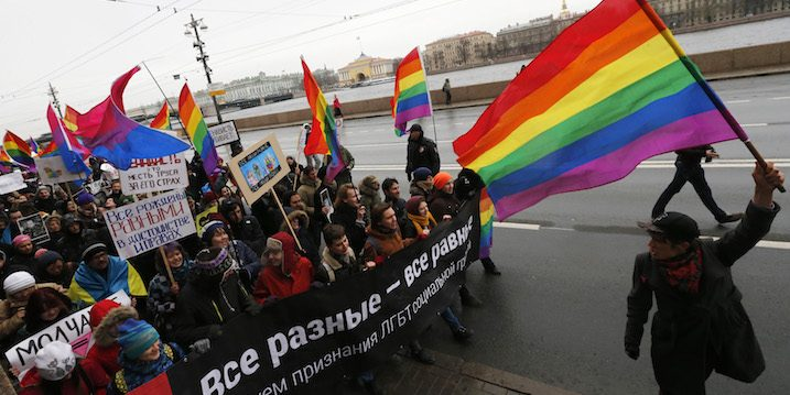 An LGBT march in Russia
