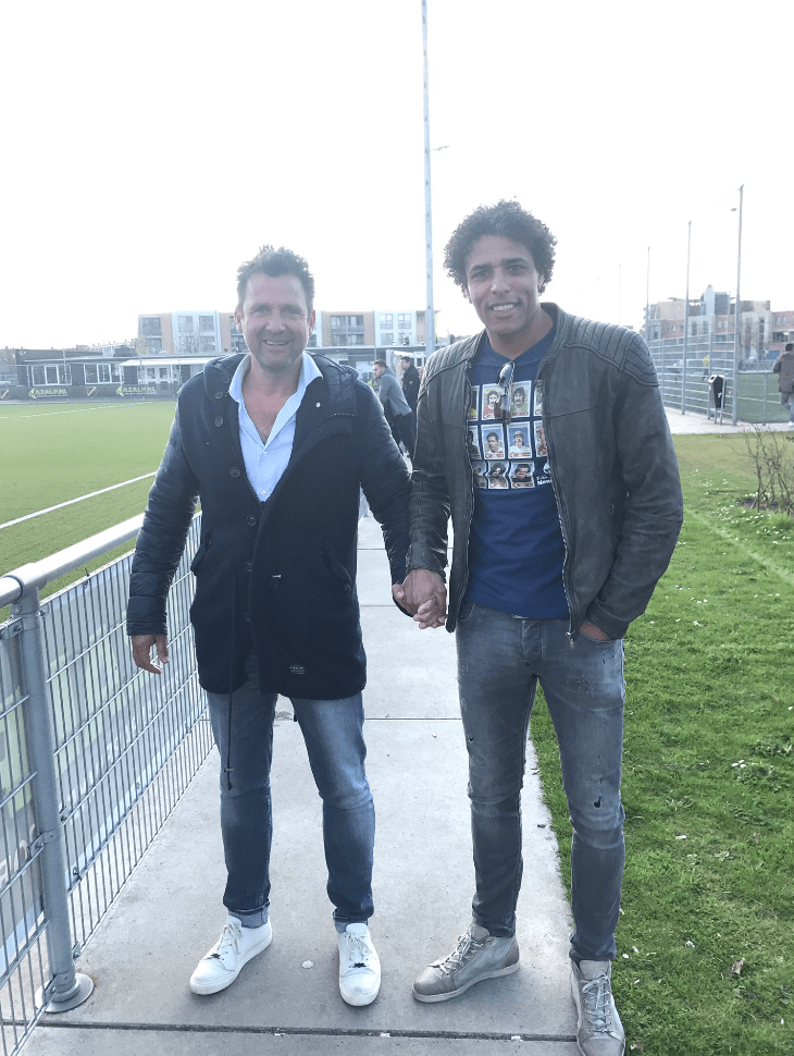 Dutch footballer Pierre van Hooijdink shows his support for the LGBT community