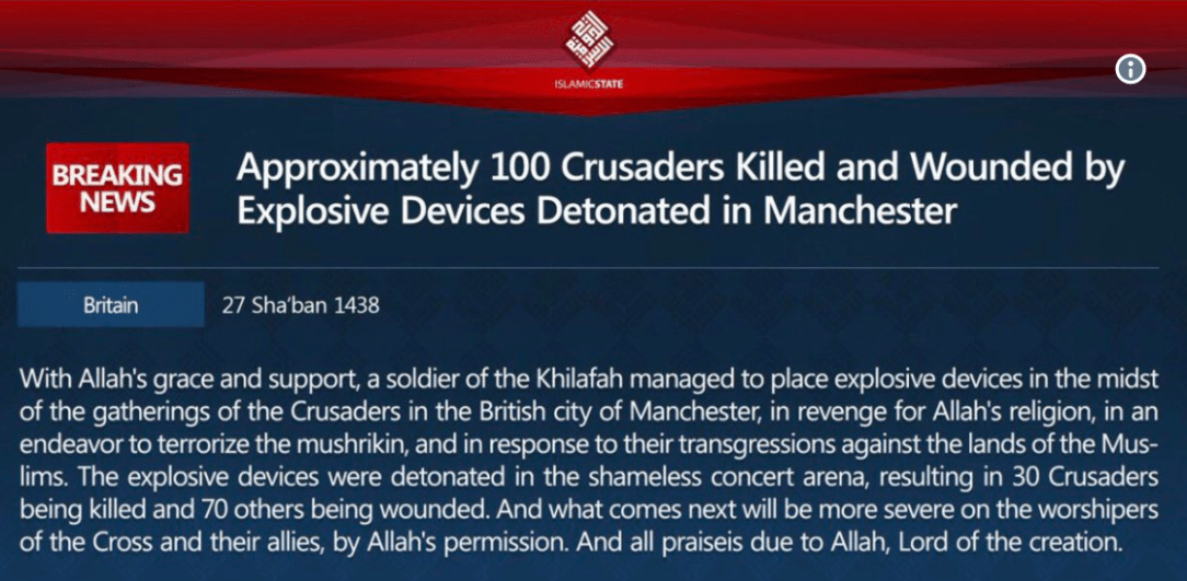 ISIS say they were behind the suicide-bombing outside an Ariana Grande concert
