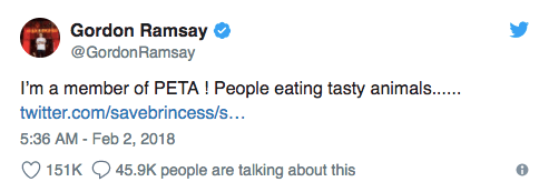Gordon Ramsay in trouble with vegan community over Tweet