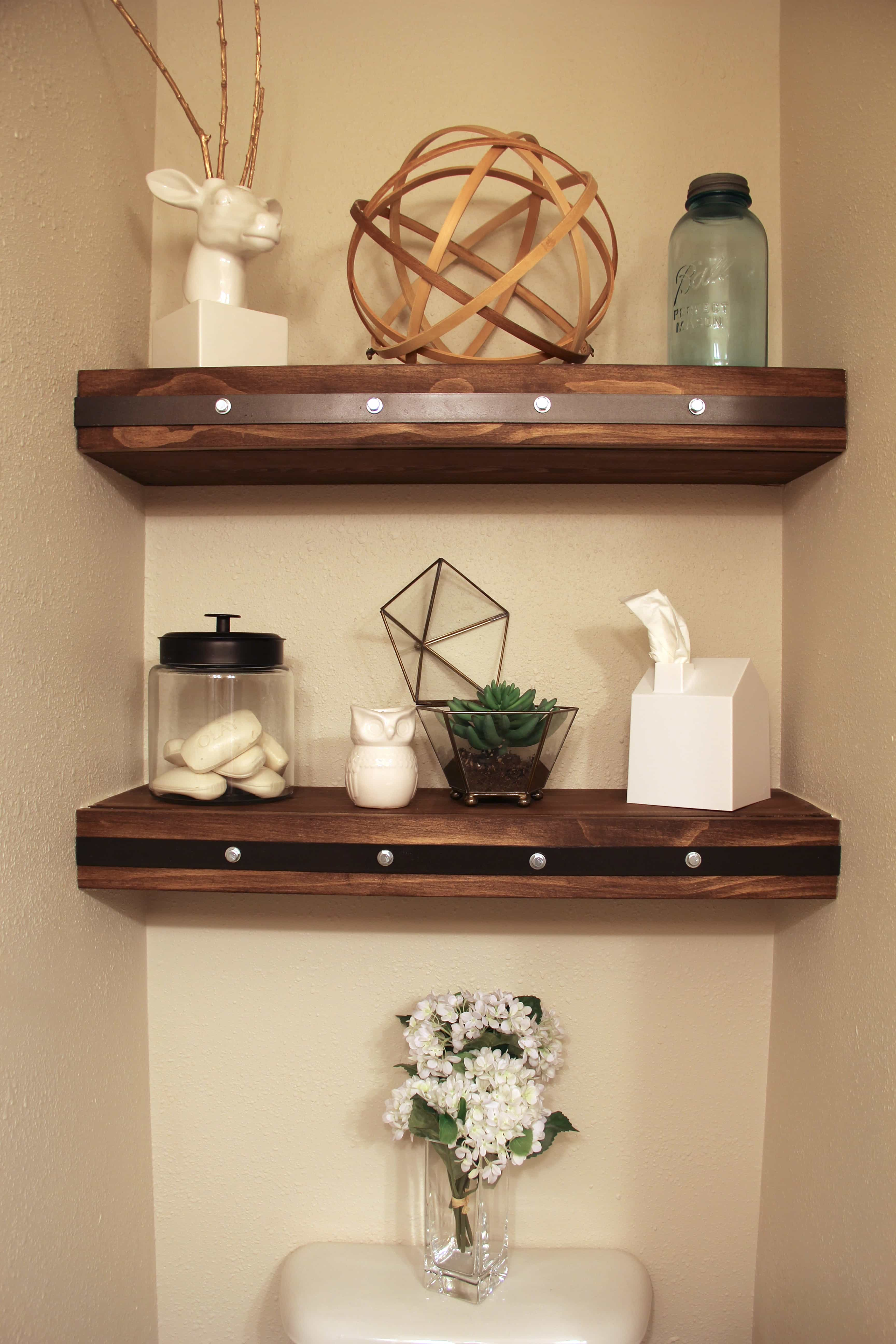 Ideas Bathroom Shelves Diy Floating Shelves With Faux Rivets