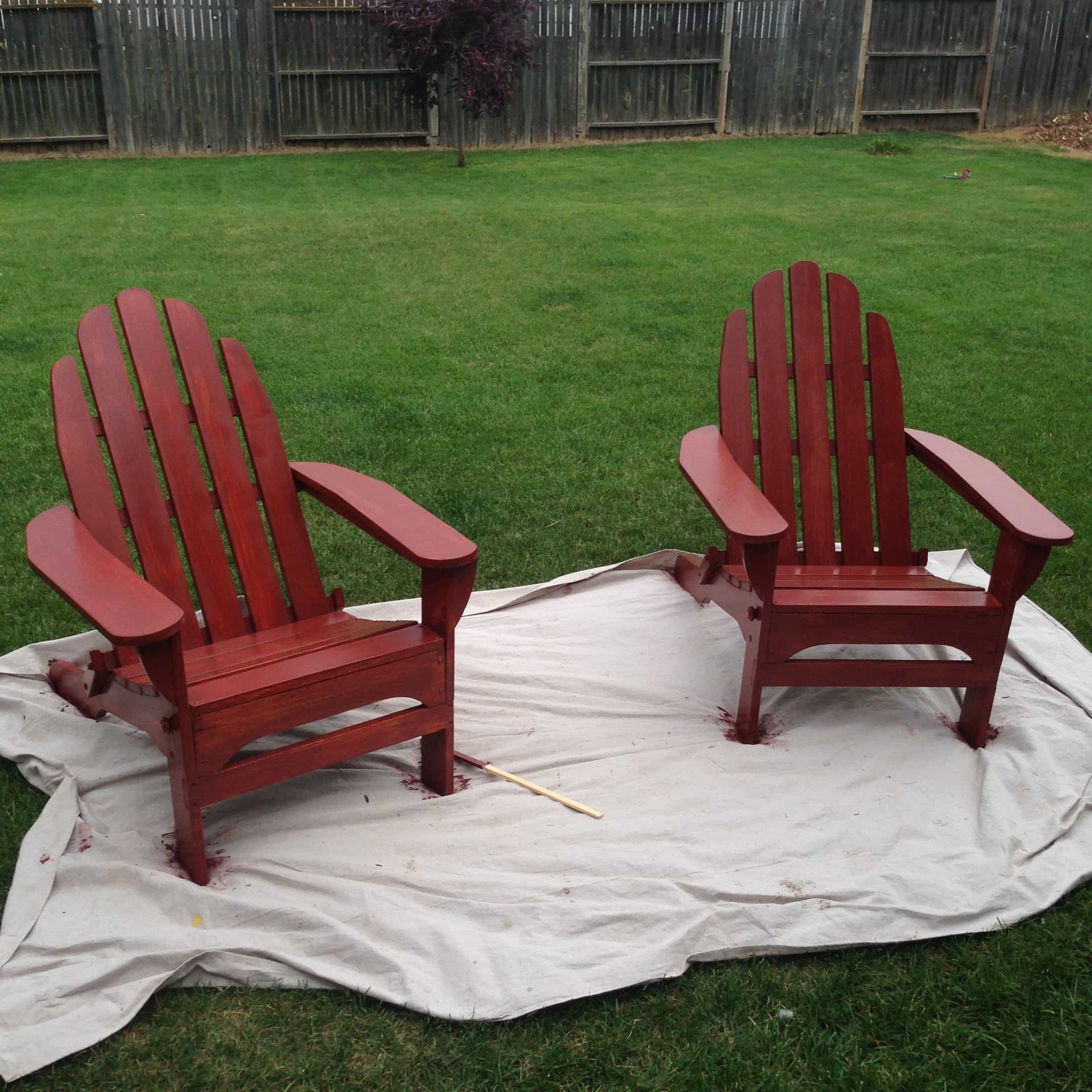 Colored Adirondack Chairs A Quotpop Quot Of Red Painted Adirondack Chairs