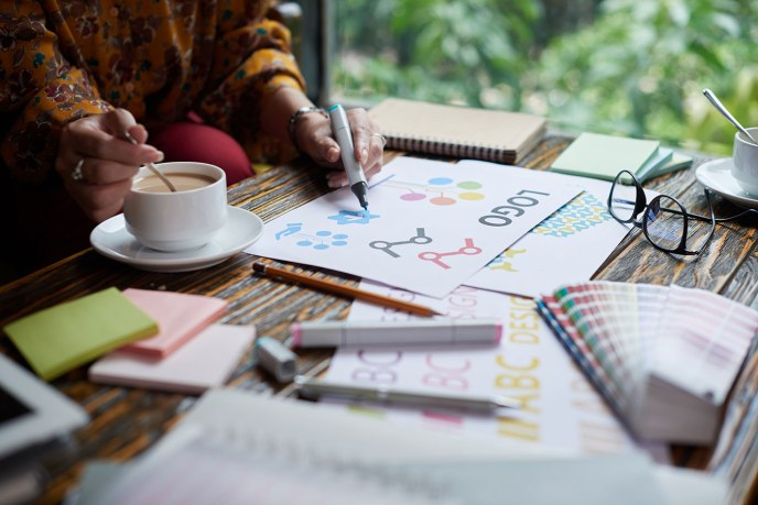 graphic designer creating a logo