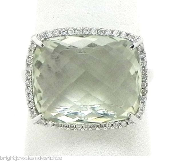Ladies 14k White Gold 1122 Cts Green Amethyst Diamonds