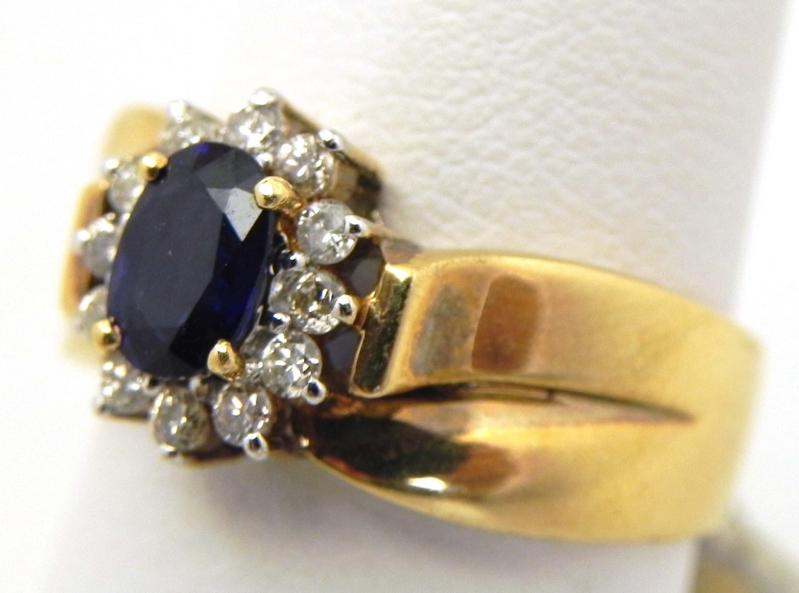 Ladies 14k Yellow Gold Sapphire Amp Diamond Cluster Ring