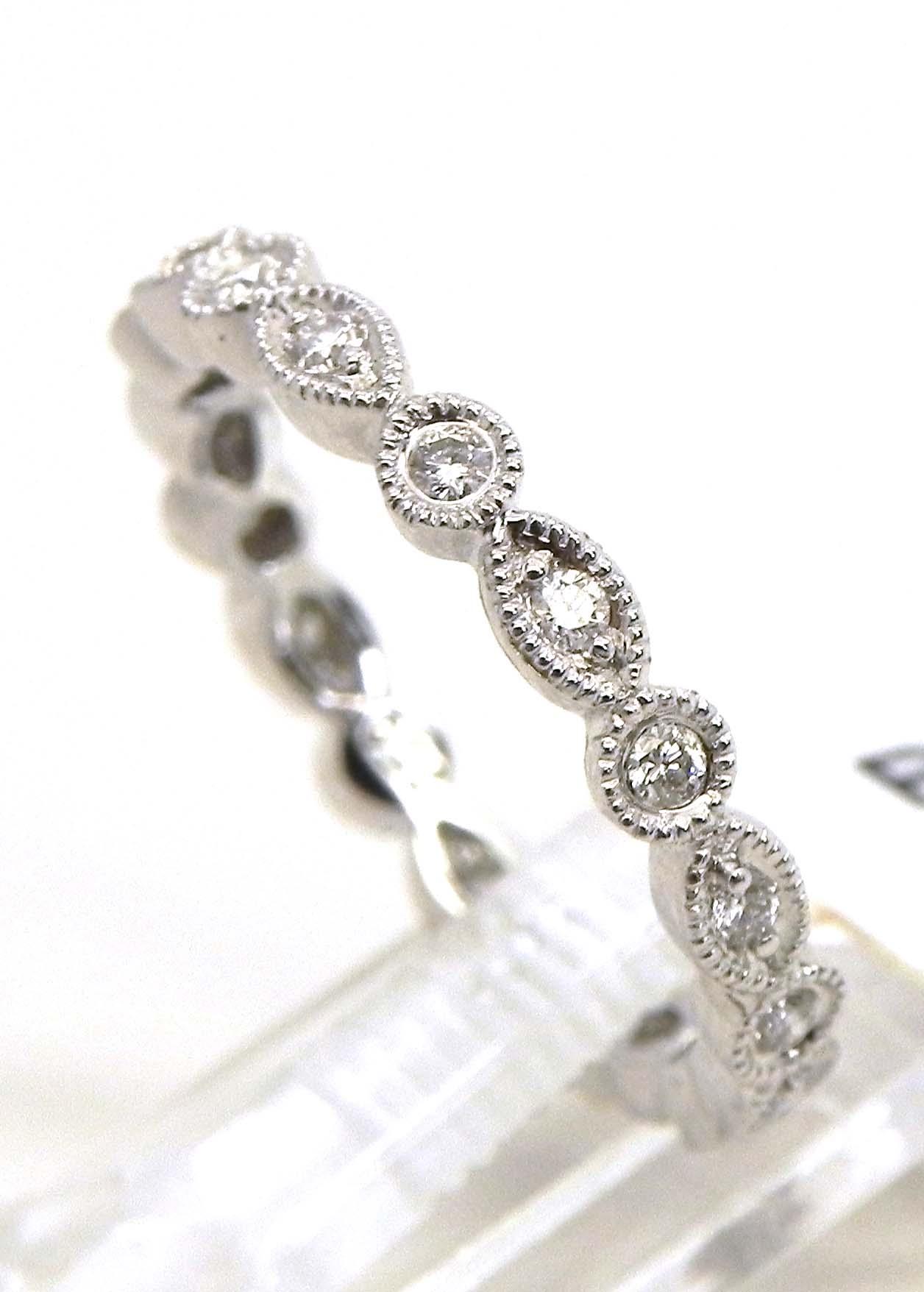 Ladies 18k White Gold Diamonds Round Amp Oval Eternity