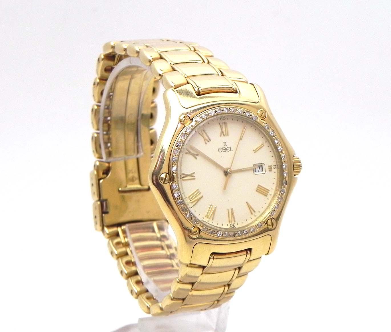 Ladies MidSize Ebel 1911 18k Gold 126 Cts Diamond Bezel