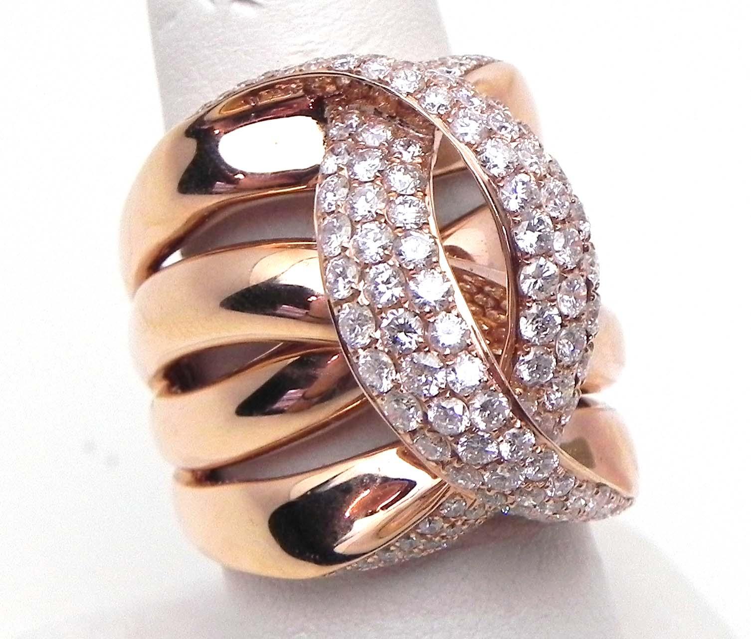 Ladies 14k Rose Gold 242 Cts Diamonds Crossing C Wide