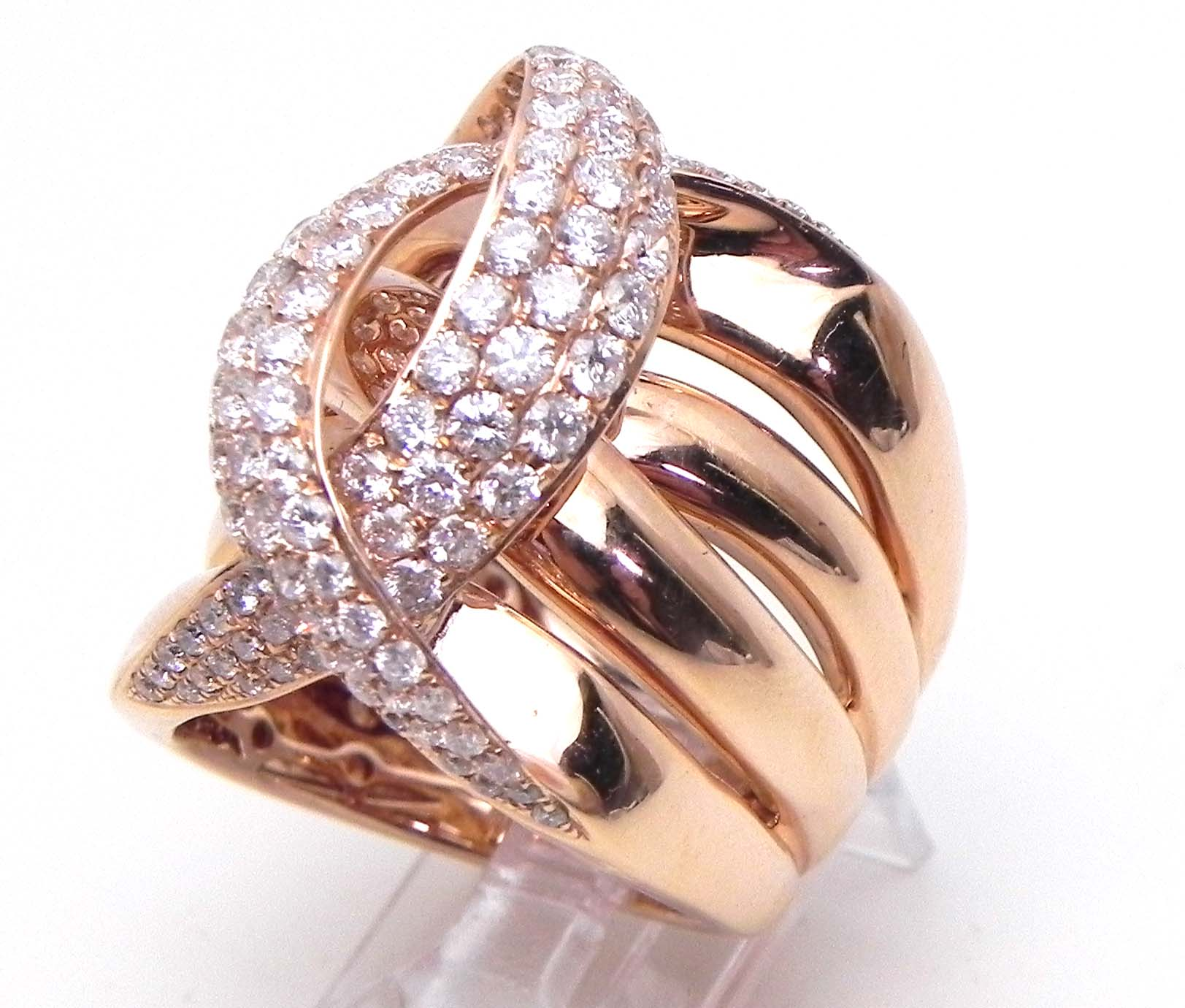 Ladies 14k Rose Gold 242 Cts Diamonds Crossing C Wide