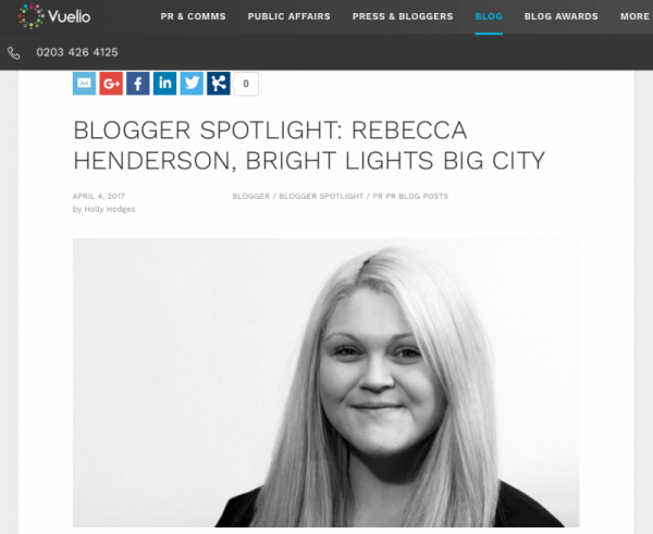 I'm on Vuelio's Blogger Spotlight!