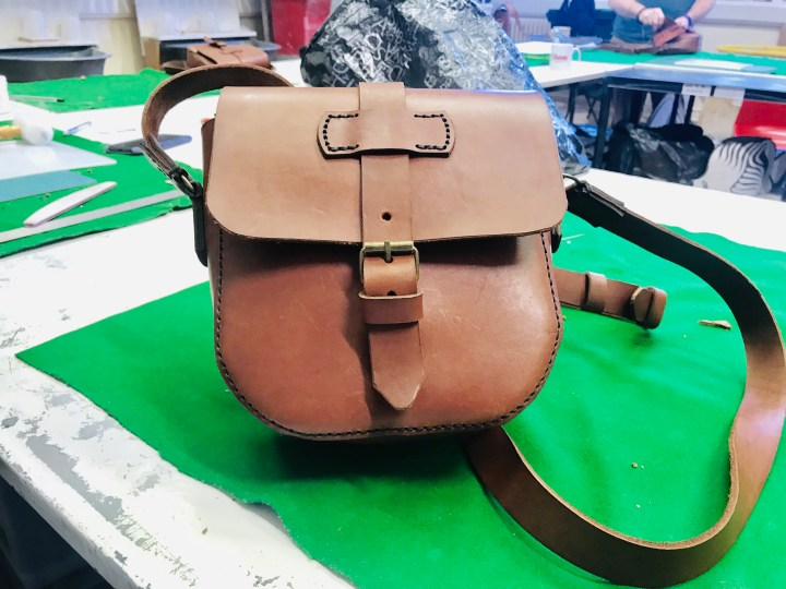 The final finished leather satchel bag I made at The Maker's Guild
