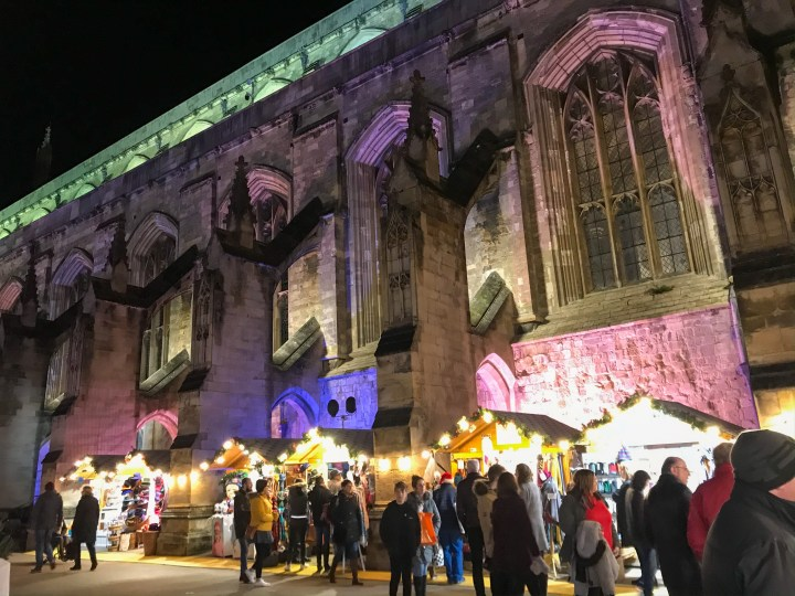 The Christmas Market in the grounds of Winchester Cathedral, Hampshire