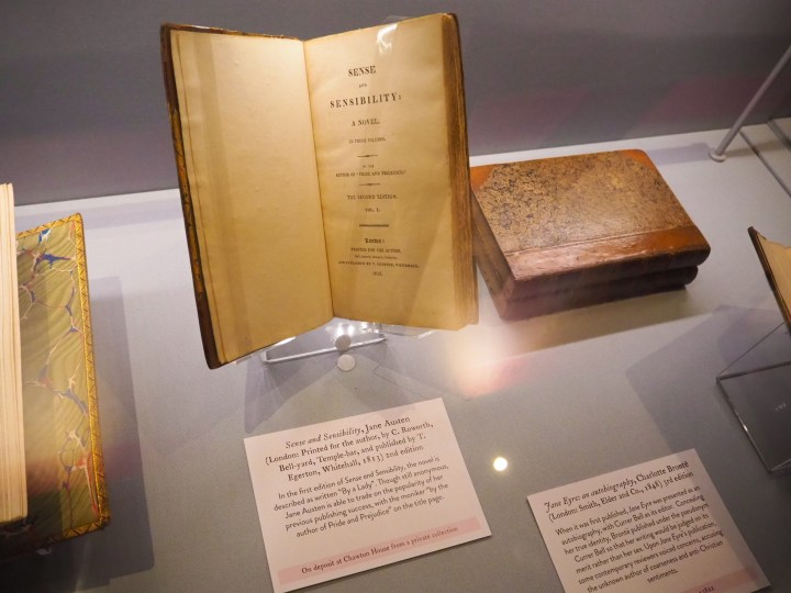 A second edition copy of Jane Austen's Sense and Sensibility at Chawton House in Hampshire
