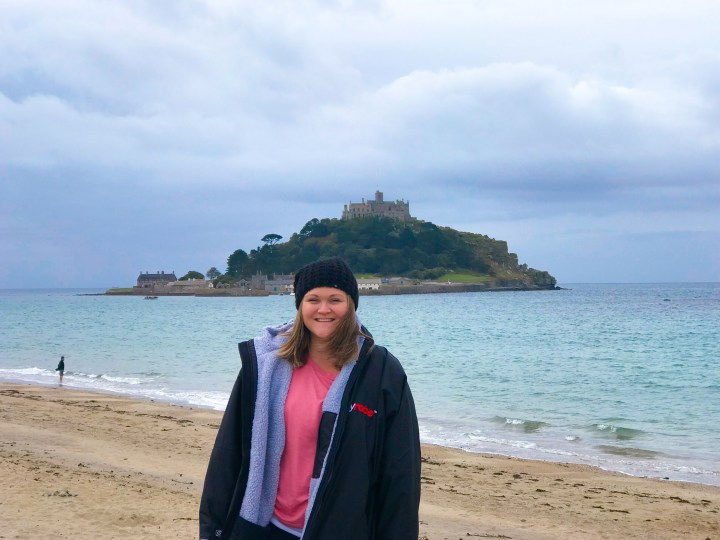 Bex from Bright Lights Big City wearing her long sleeve dryrobe at St, Michael's Mount in Cornwall