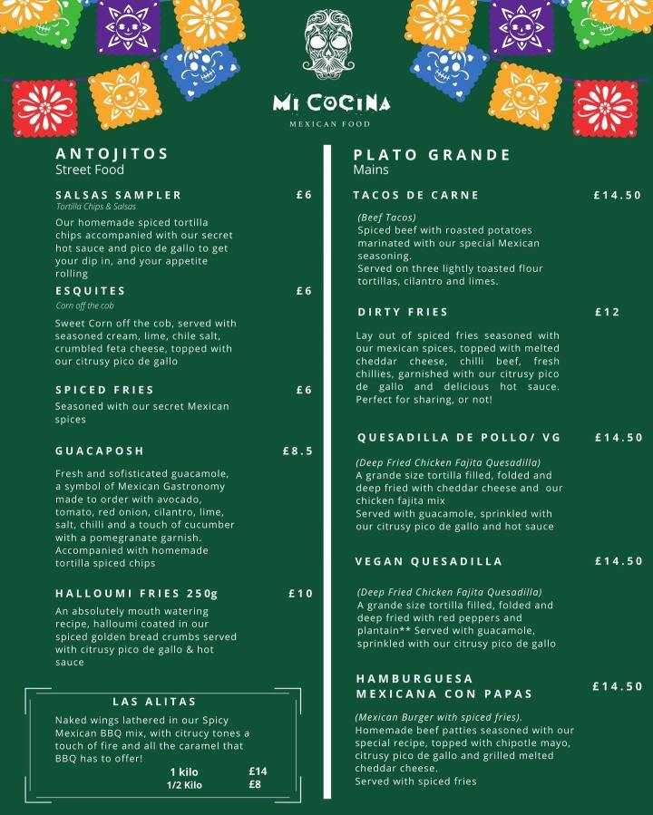 The menu at Mi Cocina Mexican Food in Winchester, Hampshire