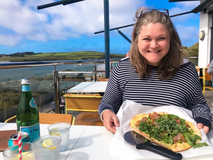 Bex enjoying pizza at The Rock Pizza Co. in Rock, over the water from Padstow in Cornwall