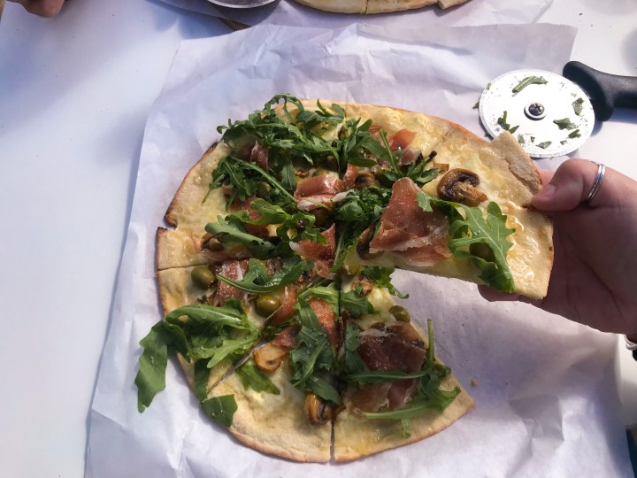 A ham, mushroom, olive and white truffle pizza at The Rock Pizza Co. in Rock, over the water from Padstow in Cornwall