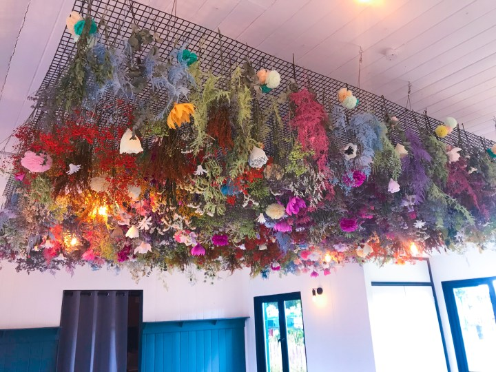 The flower installation at Cafe Fresco by Canoe Lake in Southsea, Portsmouth, Hampshire