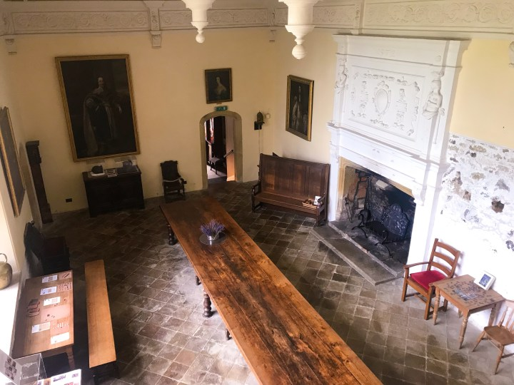 The main hall at Trerice House in Newquay, Cornwall, England, UK